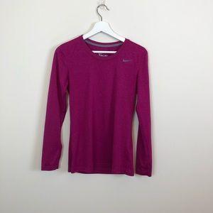 Nike Purple Dri-Fit Long Sleeve Tee Size Small